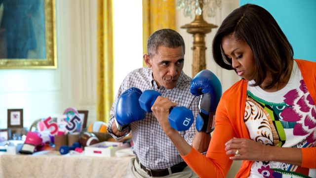 Obamas with boxing gloves