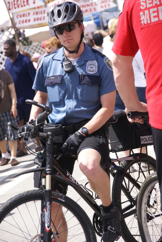 Police officer on a bike
