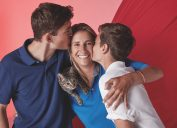 mother and sons wearing supima cotton performance polo shirts from brooks brothers