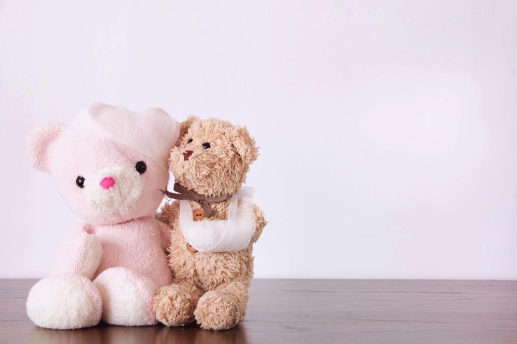 Broken teddy bears