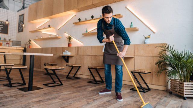 Server closing restaurant