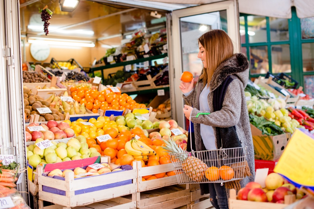 Woman Picking Out Fruit at Grocery Store Wordplay Jokes