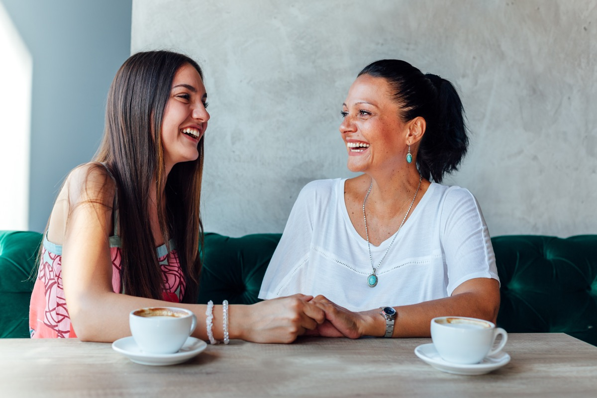 Mother daughter talking being supportive listening laughing