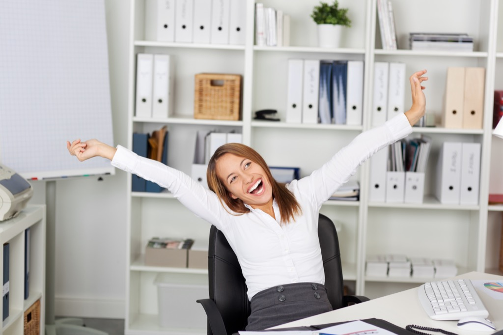 energized woman at desk