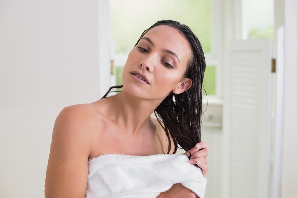 woman shower wet hair showering