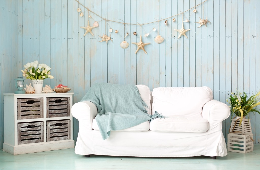 couch in nautical living room home decorations