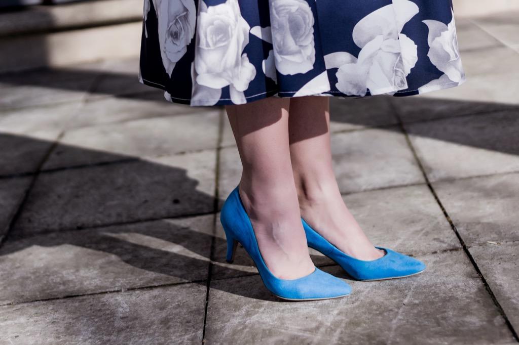 blue dress blue shoes