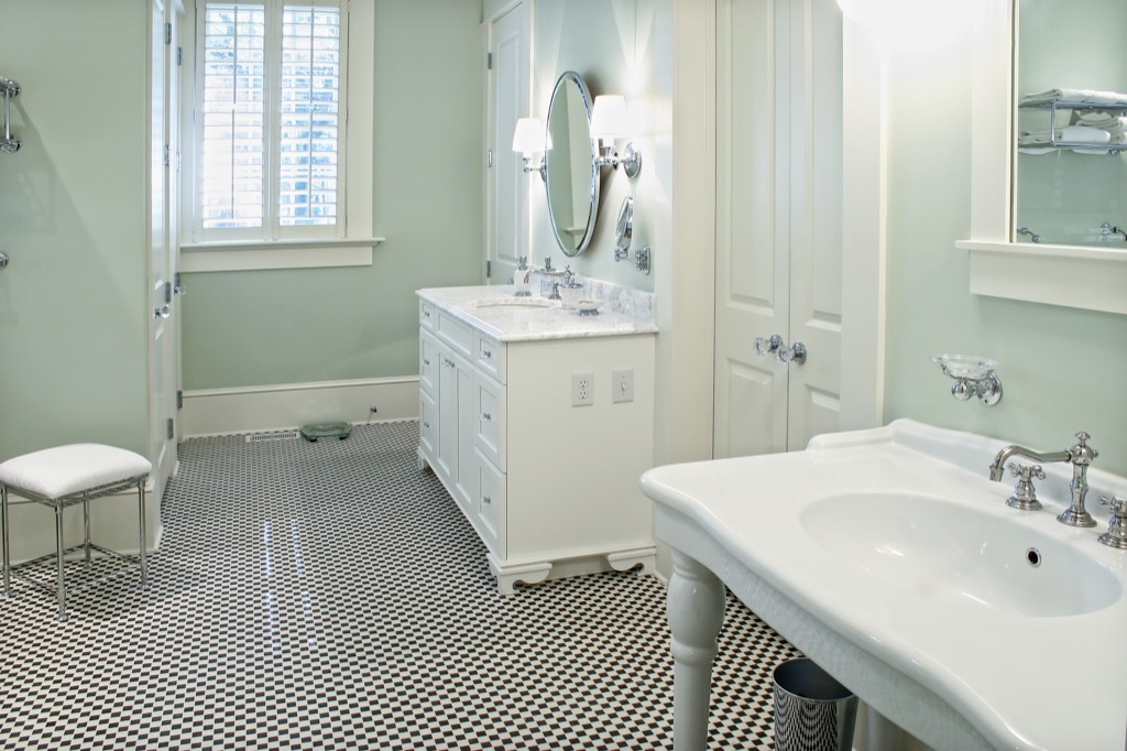 Checkered Bathroom Tile in home