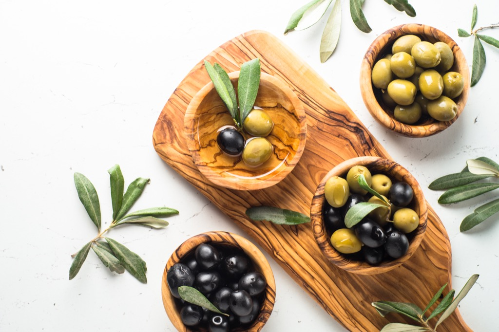 Display of green and black olives