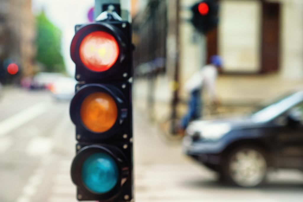 Traffic light glowing red
