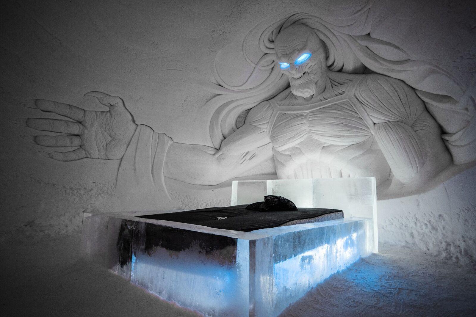 whitewalker sculpture in suite in game of thrones hotel in finland