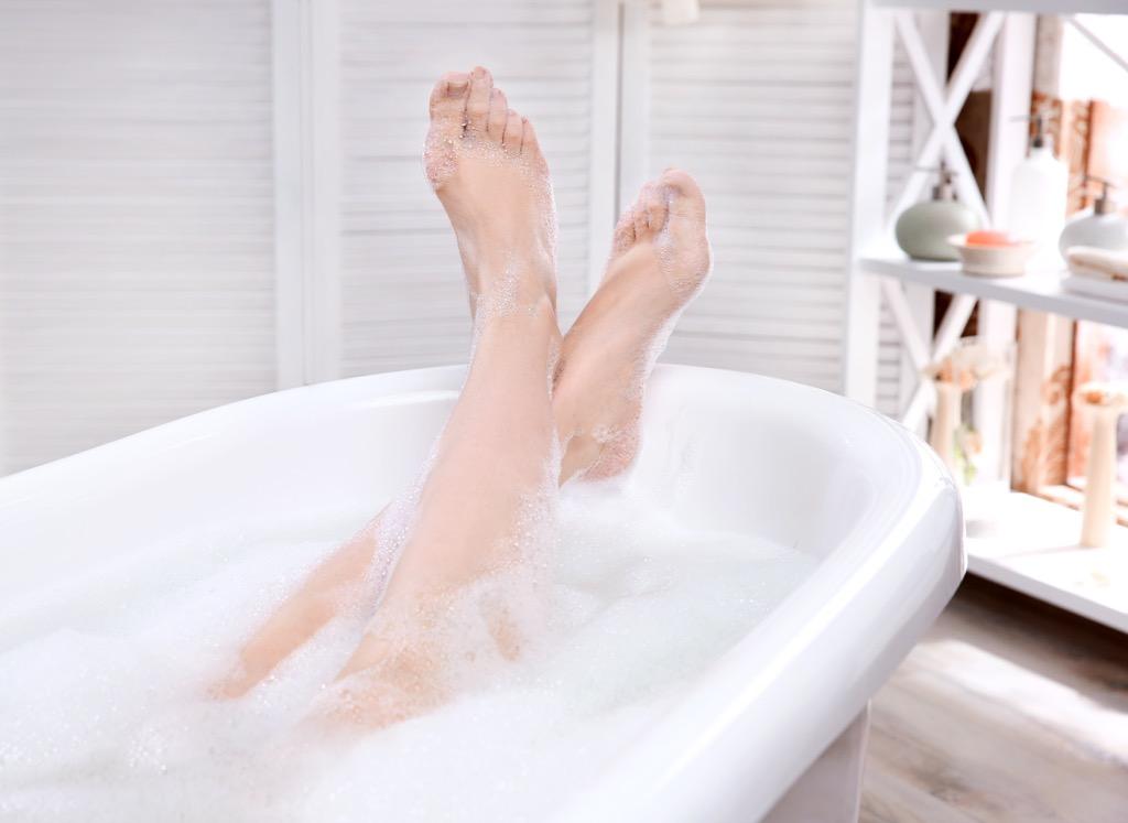 woman legs bath