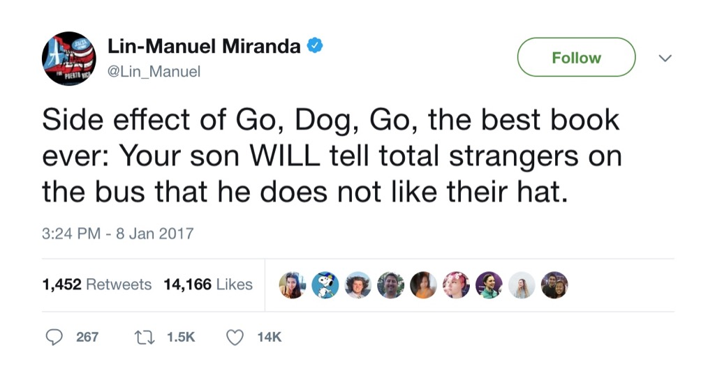Lin Manuel Miranda Tweet