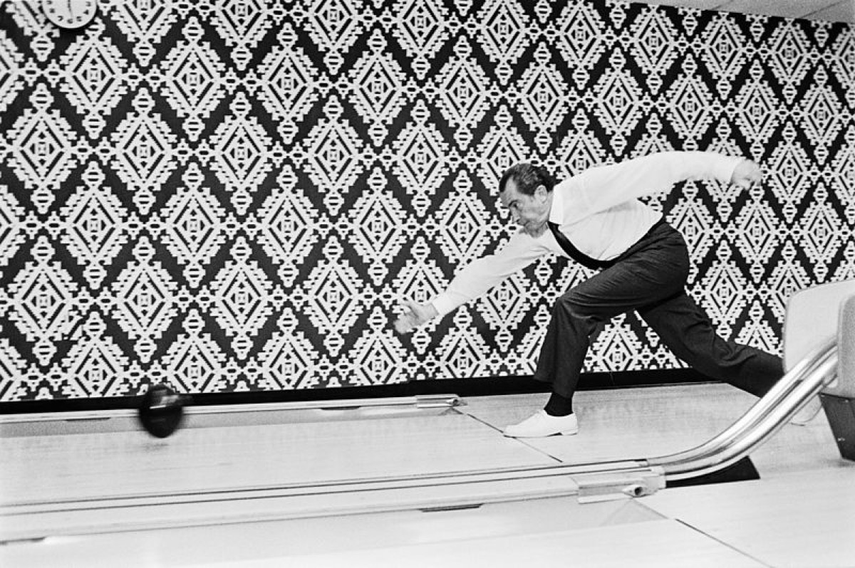 """""""President Nixon bowls with the winners of the 7th International Bowling Federation Tournament (not pictured)"""" <---- (text from original archives.gov website, as viewed 2015-12-08)"""