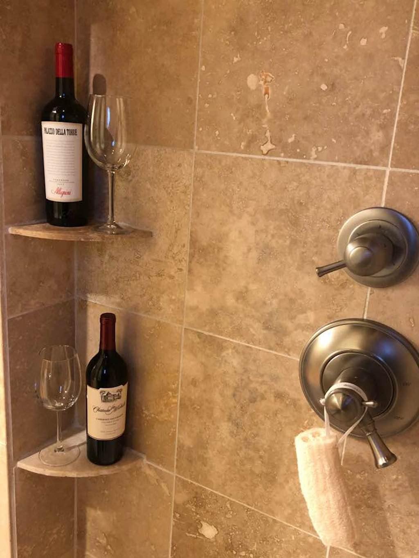 Carole McCann Williamson posts viral fb photo of wine bar in bathroom.