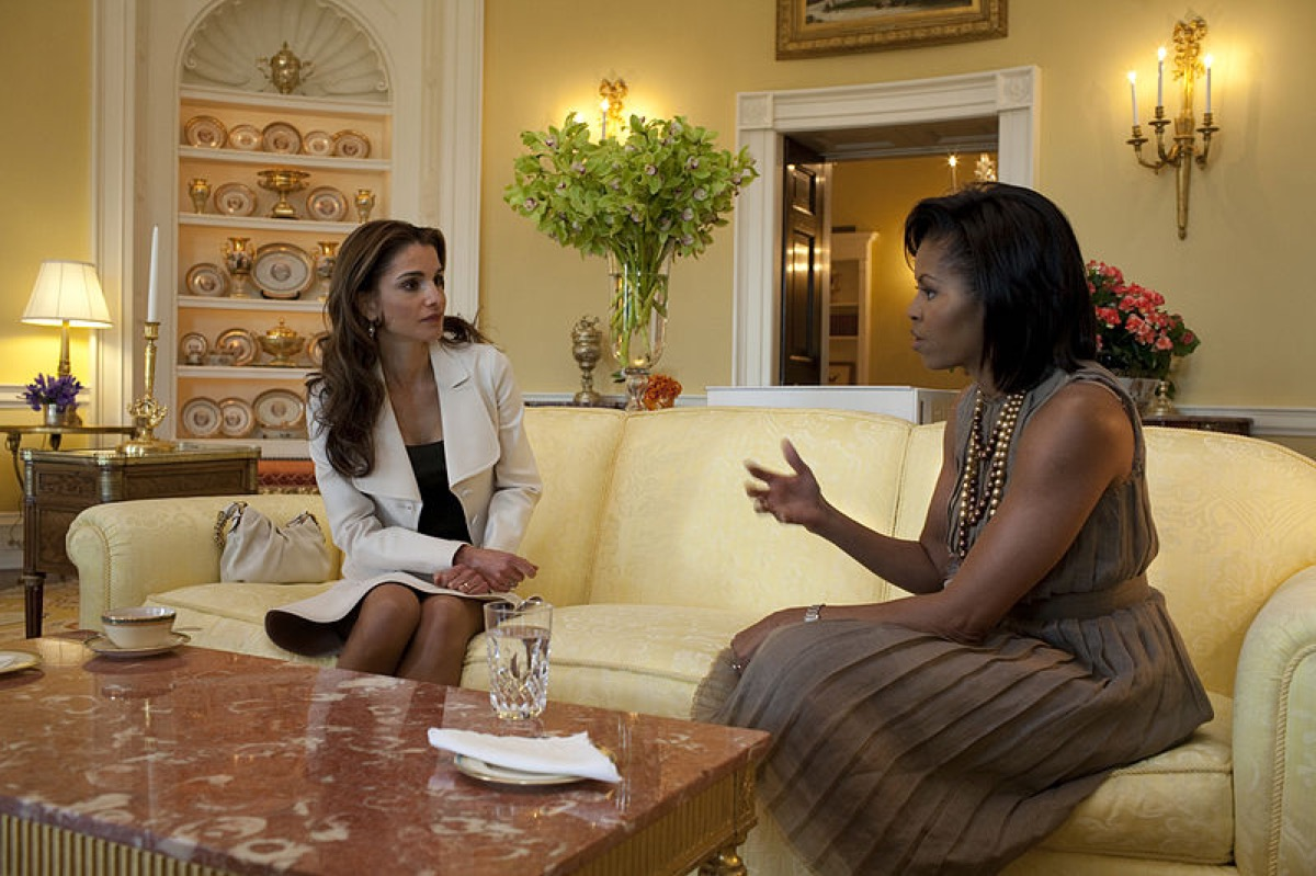 First Lady Michelle Obama hosts Jordan's Queen Rania in the Yellow Oval Room in the White House Residence.