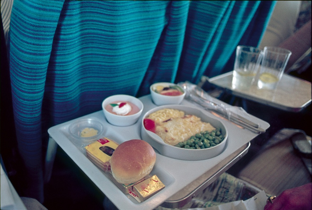 Airplane food on a tray