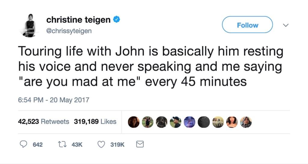 Chrissy Teigen funniest celebrity marriage tweets