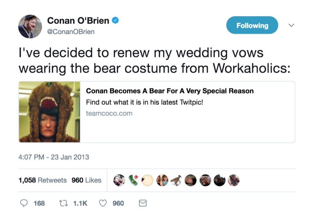 Conan O'Brien funniest celebrity marriage tweets
