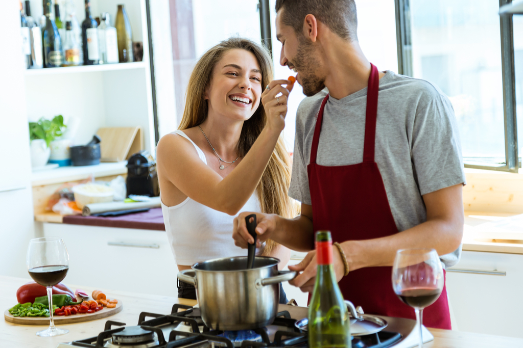 Couple Cooking Together Romance