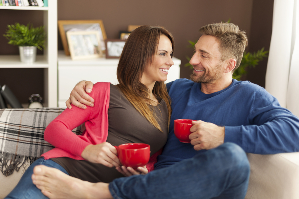 Couple Drinking Coffee Romance