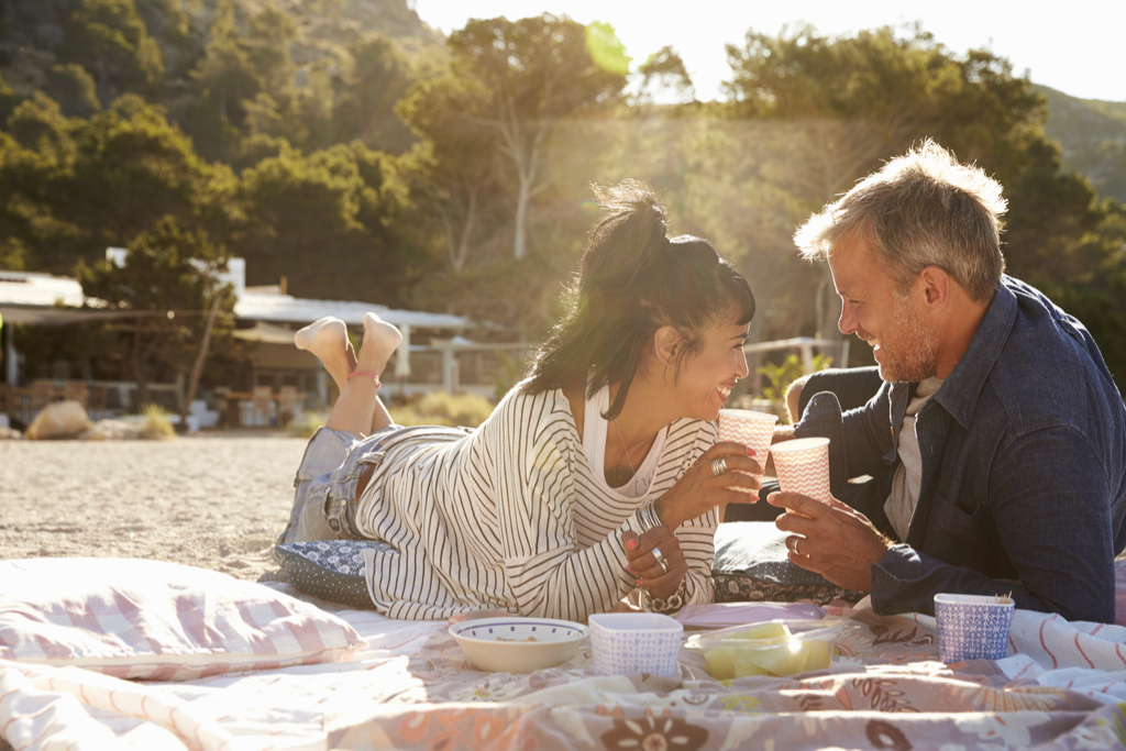 Couple Having Picnic Valentine's Day simple pleasures Fake American Traditions