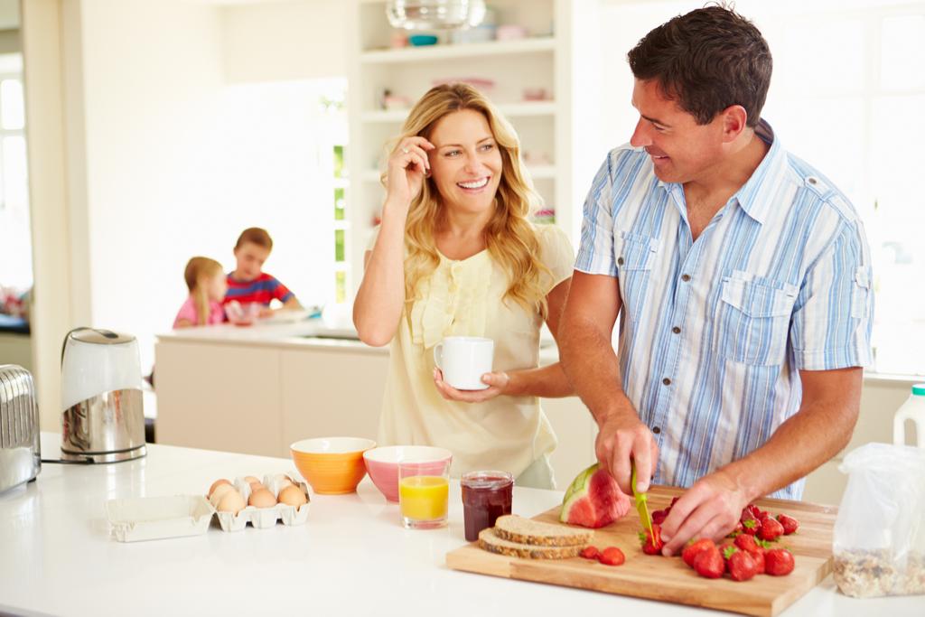 Man Making Woman Breakfast Romance