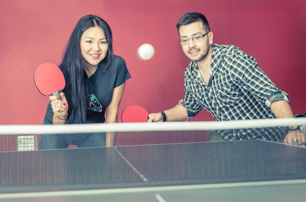 Couple Playing Ping Pong Romance