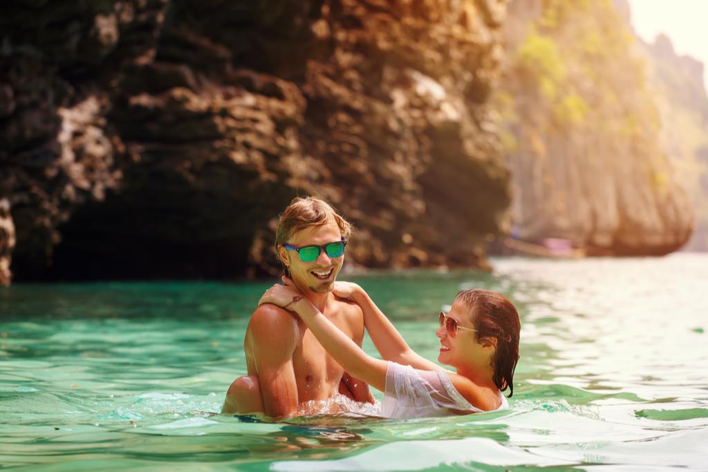 Couple Swimming in Ocean Romance