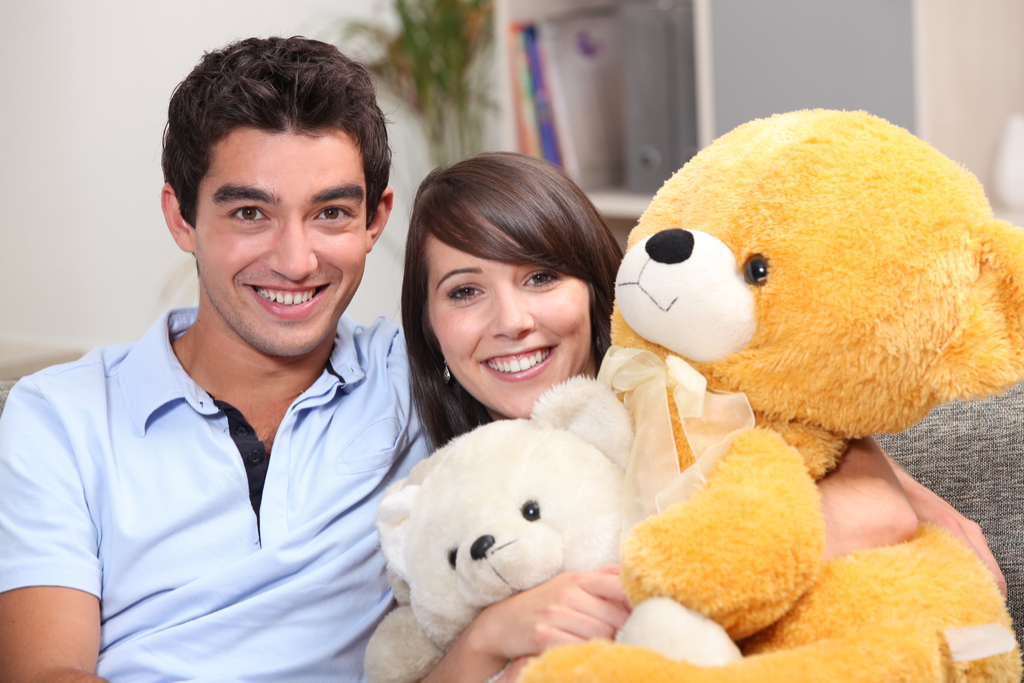 Couple With Giant Stuffed Bear Romance