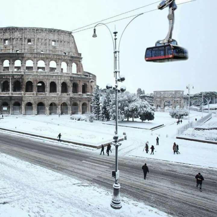 coliseum in the snow