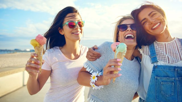 Friends Eating Ice Cream Anti-Aging
