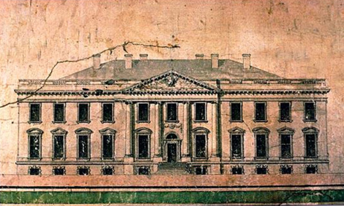 Elevation of the north side of the White House, by James Hoban, c. 1793. Progress drawing after having won the competition for architect of the White House. Collection of the Maryland Historical Society.
