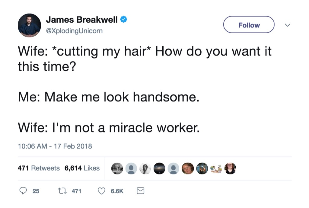 James Breakwell funniest celebrity marriage tweets