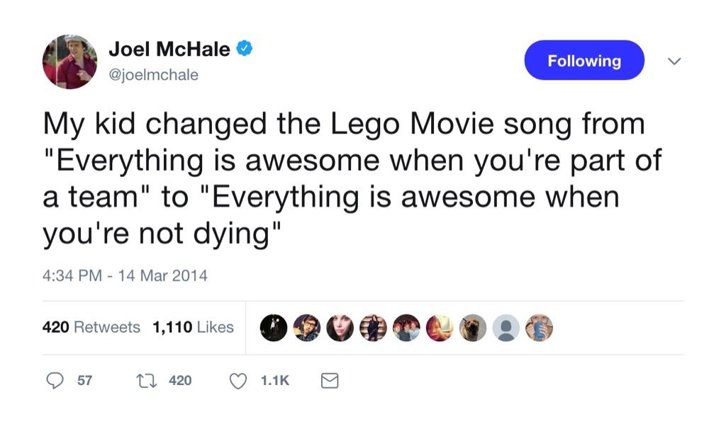 Joel McHale funny tweet