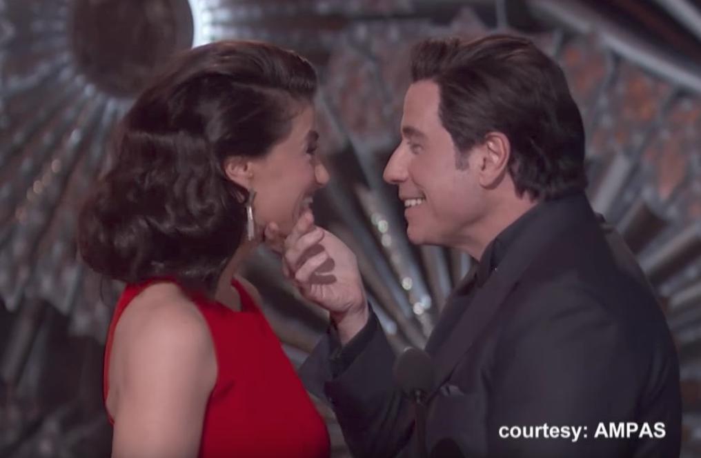 John Travolta Touches Idina Menzel's Face Oscars Jokes