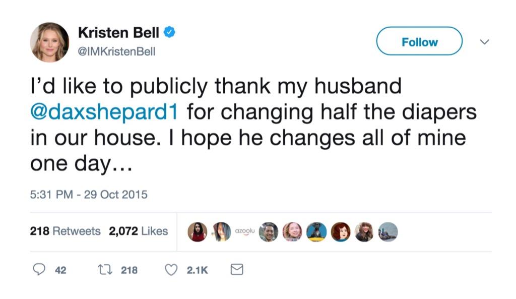 Kristen Bell funniest celebrity marriage tweets