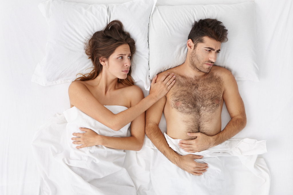 Man Hurt in Bed with Partner