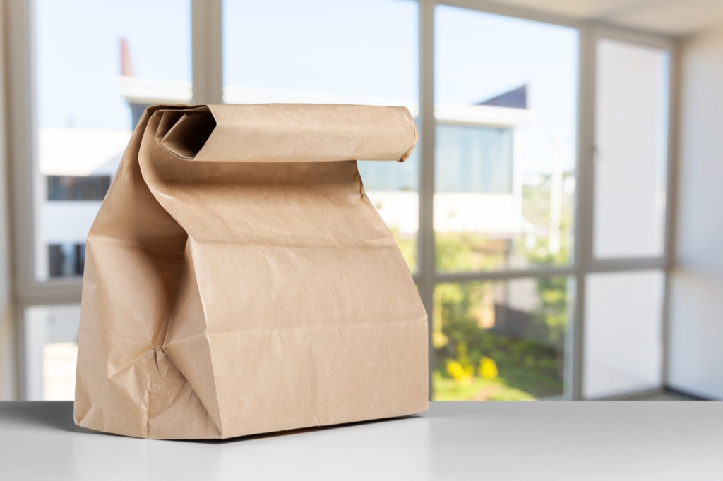 Paper bag on counter