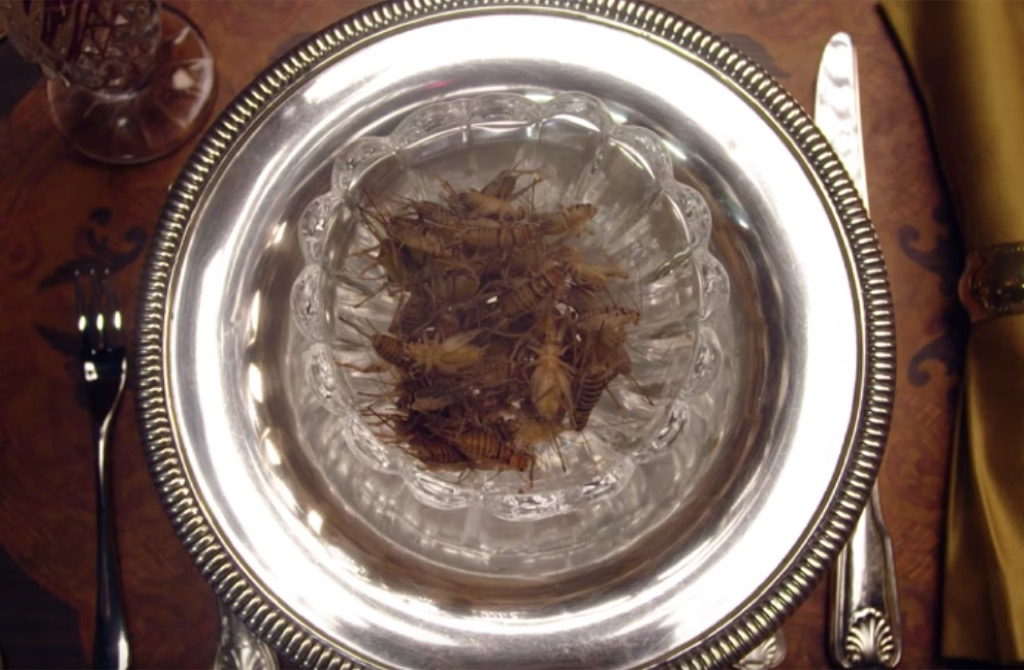 plate of crickets eaten by Nicole Kidman on Vanity Fair's Secret Talent Theater.