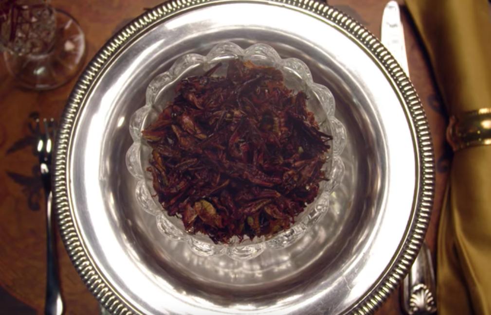 fried grasshopper in a plate for Nicole Kidman on Vanity Fair's Secret Talent Theater.