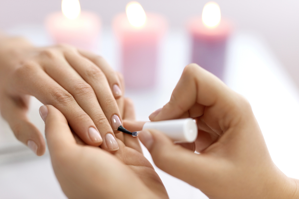 Woman Getting Manicure Valentine's Day