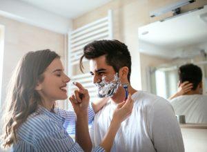 Woman Shaving Partner Romance