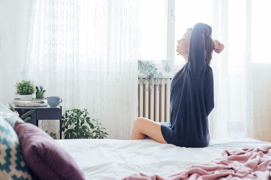 Woman Taking Deep Breath Anti-Aging