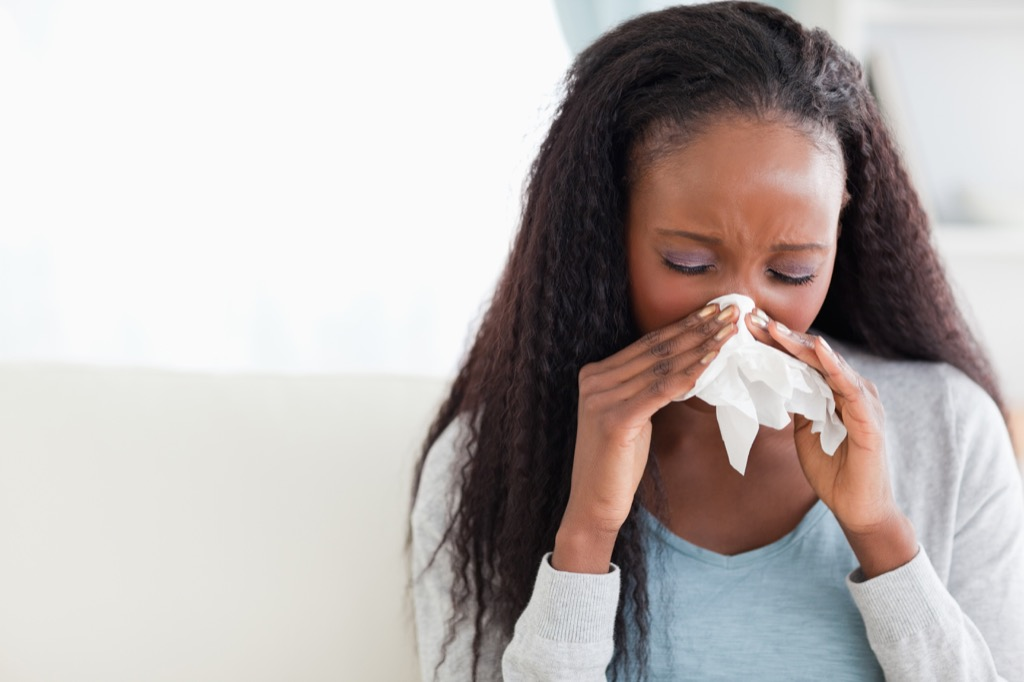 Woman Blowing Nose {Benefits of Crying}