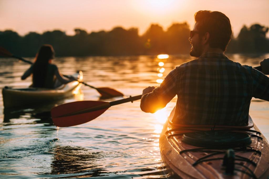 Man and woman kayaking