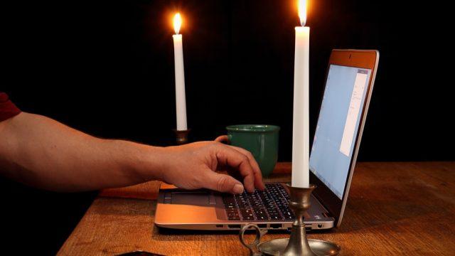 Dim lighting and desk