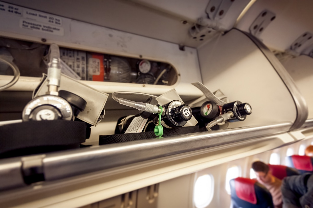 oxygen cylinders on airplane