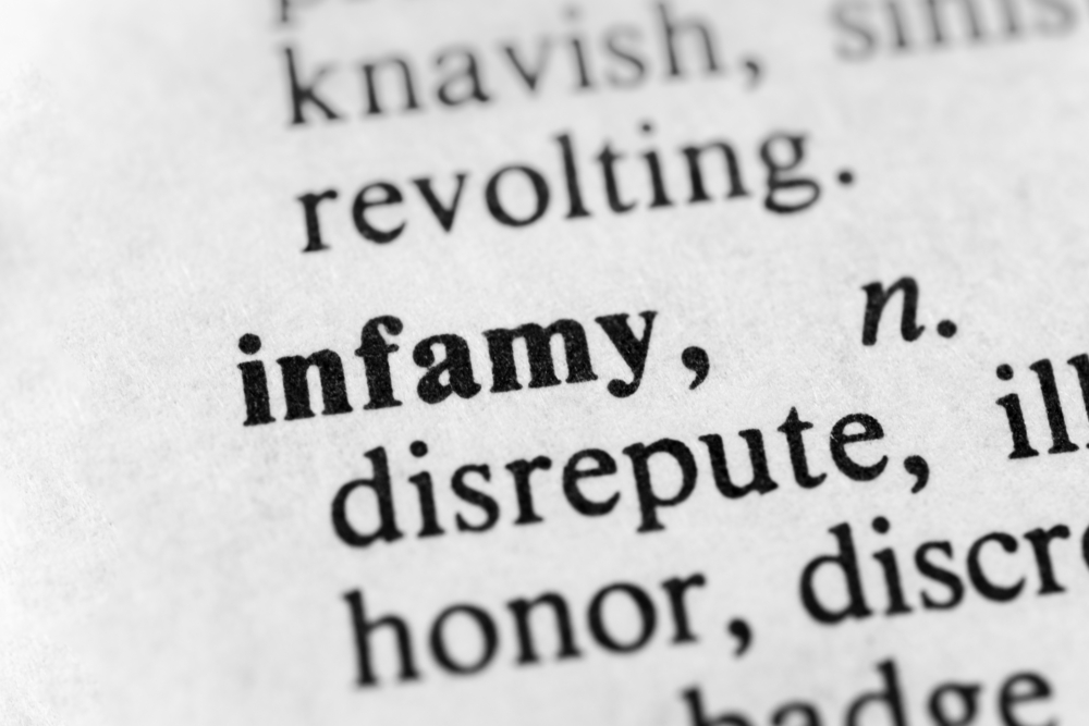 dictionary definition of infamy