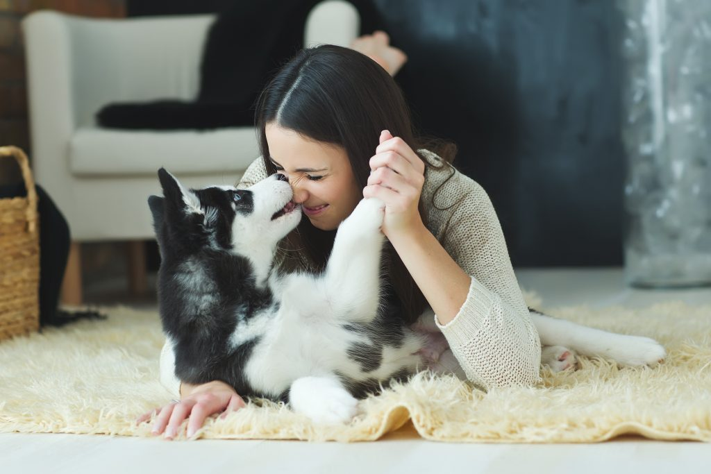 Dog and Woman in Home